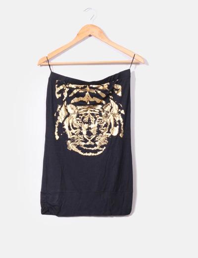 Top palabra de honor tigre dorado Bershka