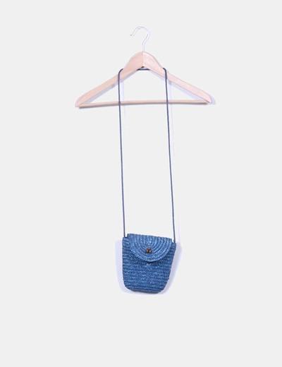 Mini bolso de paja azul Stradivarius
