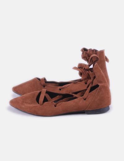 Bailarina marrón lace up