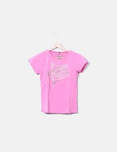 T-shirt rose imprimé logo Guess