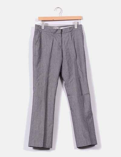 Pantalón gris con raya diplomática rosa Tex Woman