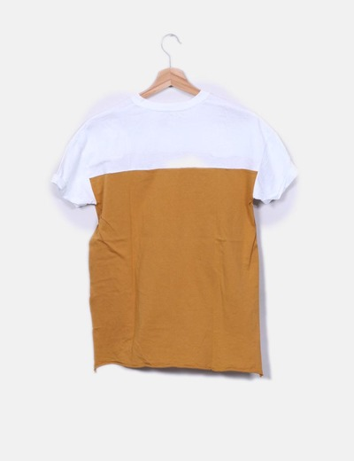 Camiseta bicolor print texto