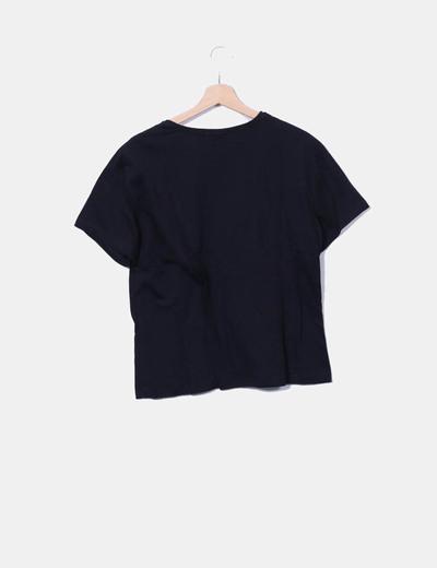 Camiseta negra print letras glitter