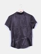 Camisa negra satinada manga corta Bohemios