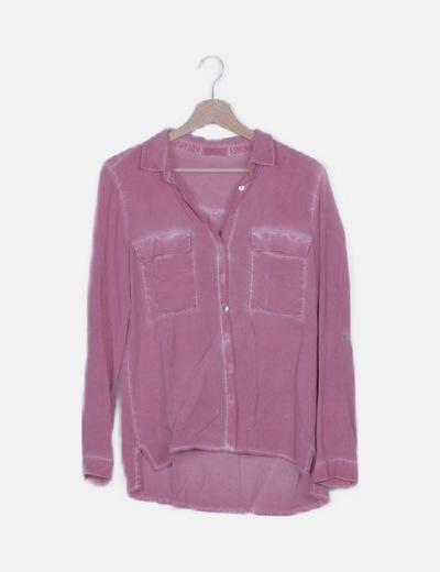 Camisa rosa fluida efecto desteñido