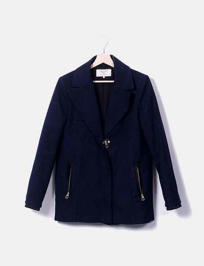Zara Abrigo tres cuartos azul (descuento 73%) - Micolet