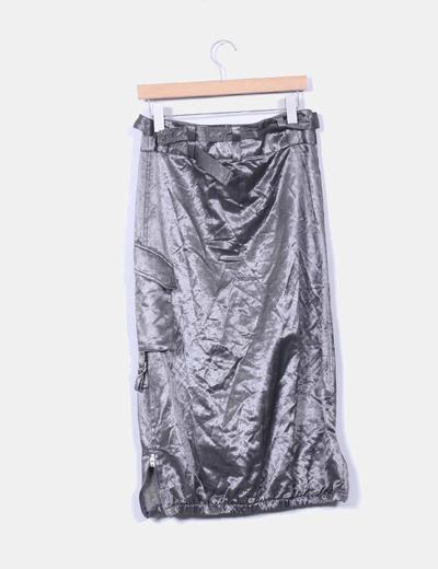 Falda midi globo plateada