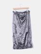Falda midi globo plateada Promod