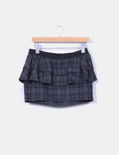 Mini falda peplum cuadros grises Zara