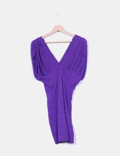 Vestido de punto ajustado escote en V Suiteblanco