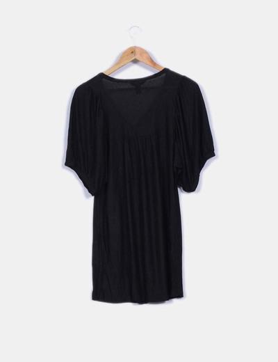 Vestido negro basico con transparencia