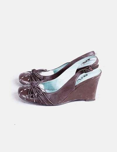 Chaussure à talon marron compensé Biviel