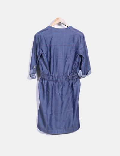 Vestido denim costura ocre fruncido en la cintura