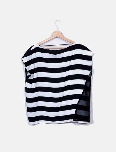 nueva especiales atractivo y duradero Venta caliente genuino Blusa rayas blanco y negro