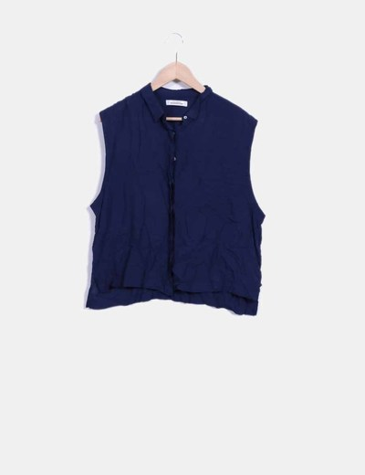 Blusa azul marino sin mangas Pull&Bear