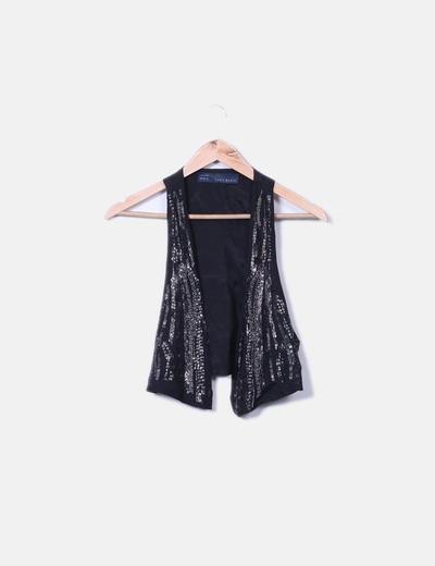 Chaleco negro con strass Zara