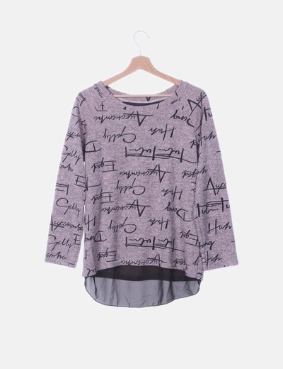 Jersey tricot combinado rosa