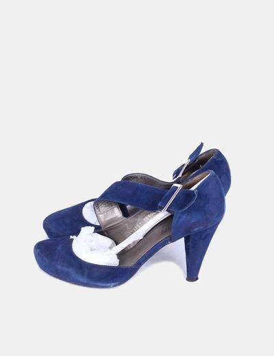 Zapatos de ante azul marino con hebilla Angari