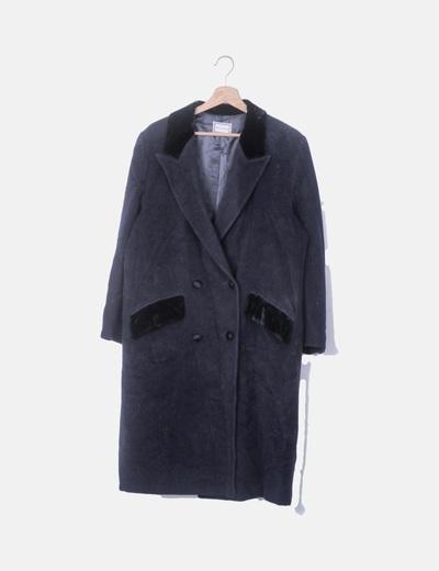 Maxi abrigo velvet azul marino