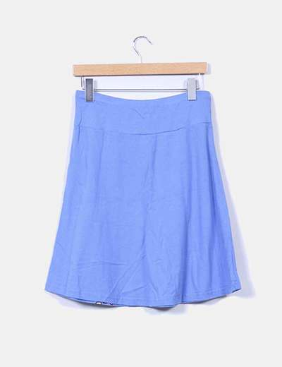 Falda midi azul estampada