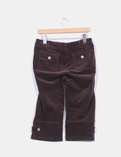 Pantalon pirata de pana marron