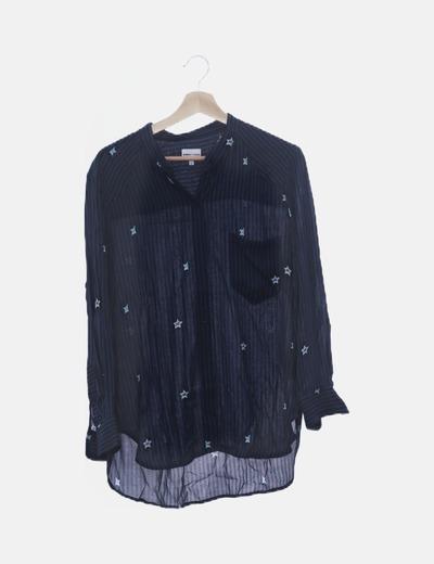 Camisa azul marino rayas