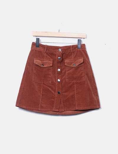 Mini falda pana marrón