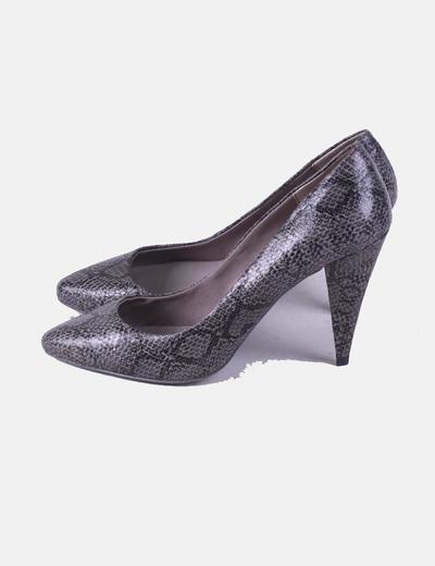 Zapato de tacón print serpiente gris Bershka