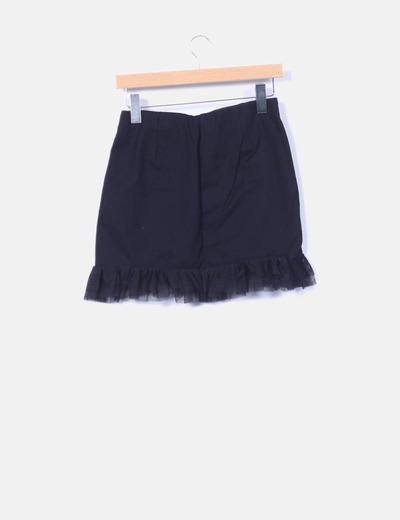descuento Con 60 Falda Mini Tul Negra Drapeada Micolet Zara wzCYtxq0x