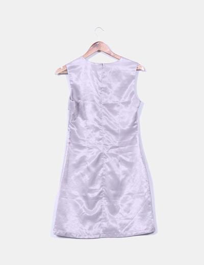 Vestido raso gris con lazos