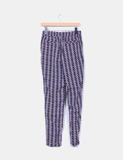 Pantalon harem azul marino estampado