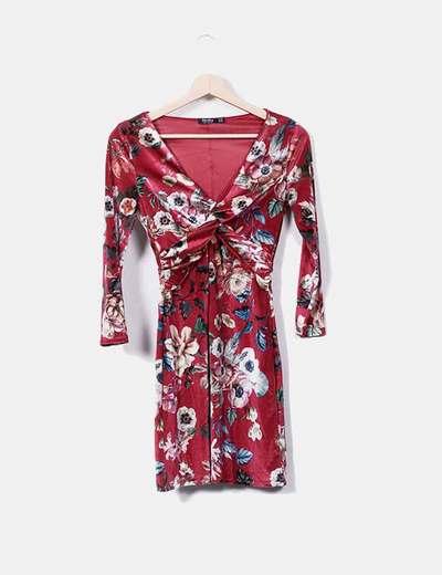 Vestido floral terciopelo burdeos