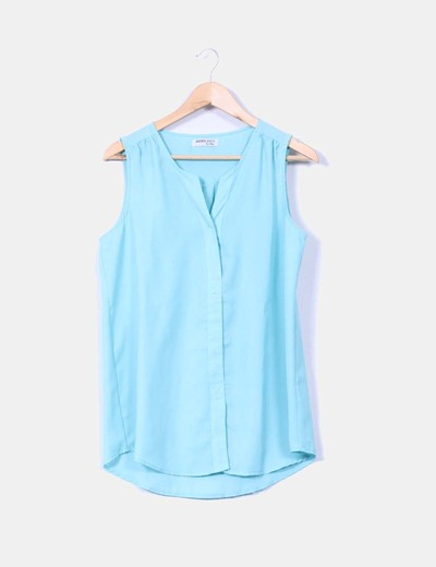 Blusa azul turquesa sin mangas Suiteblanco