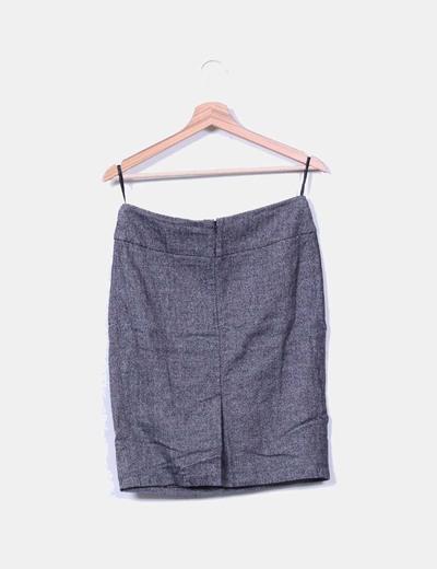 Falda midi gris jaspeada