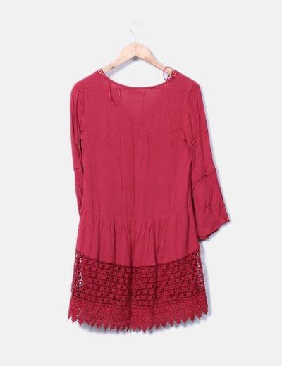 Vestido rojo combinado crochet