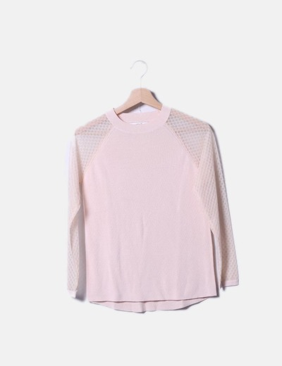 Jersey tricot rosa palo con mangas transparentes