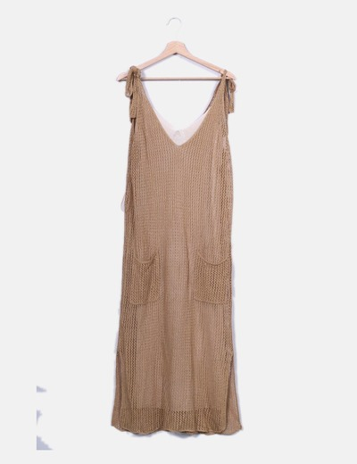 Maxi vestido camel combinado Zara