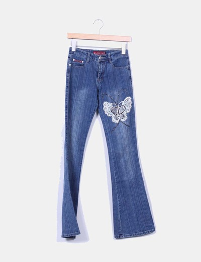 Jeans denim campana mariposa bordada GREEN