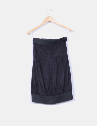 Vestido palabra de honor negro de antelina con tachas