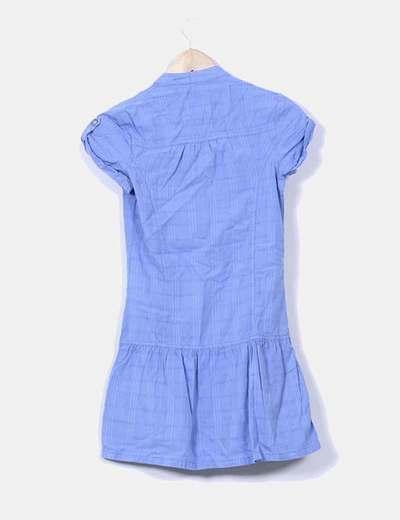 Vestido azul con volante manga corta