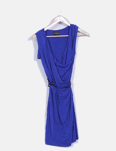 Vestido azul klein sin mangas escote en pico Atos Lombardini