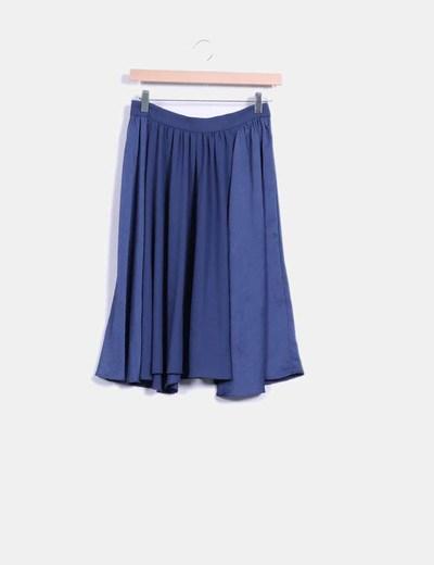 Falda azul de gasa Zara