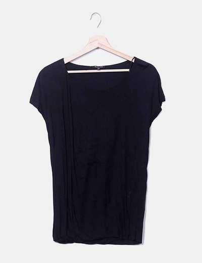 T-shirt noir viscose Massimo Dutti