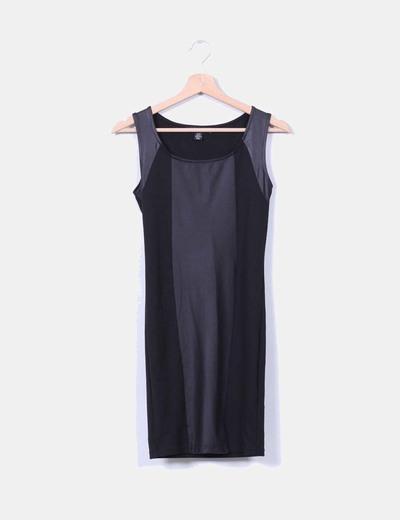 Vestido mini negro combinado Amisu