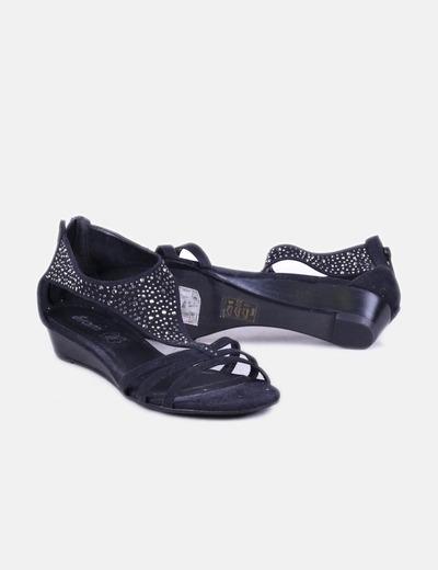 Sandalias strass negro