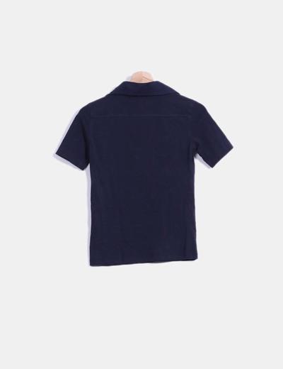 Top azul marino manga corta