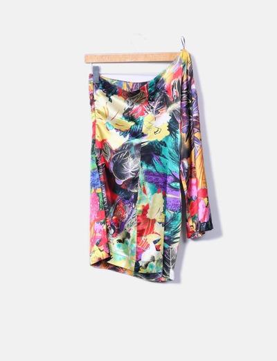 Vestido asimetrico estampado combinado multicolor