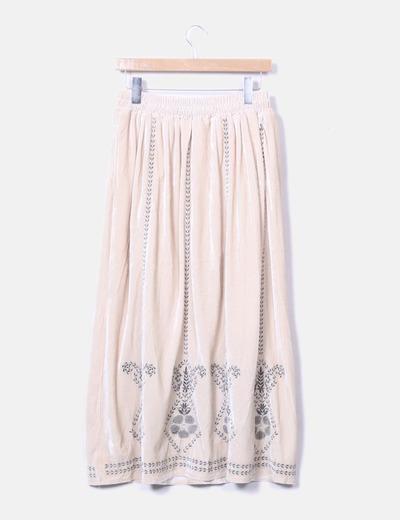 0f5770826 Maxi falda beige terciopelo