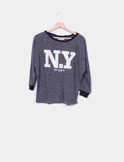 Top gris marengo jaspeado NYC terciopelo Zara