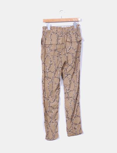 Pantalon baggy camel estampado cadenas